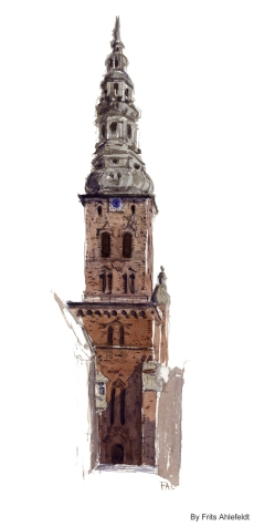 Church Tower, Copenhagen Watercolor painting by Frits Ahlefeldt