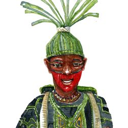 Man with green clothes and a ritual hat made our of reeds