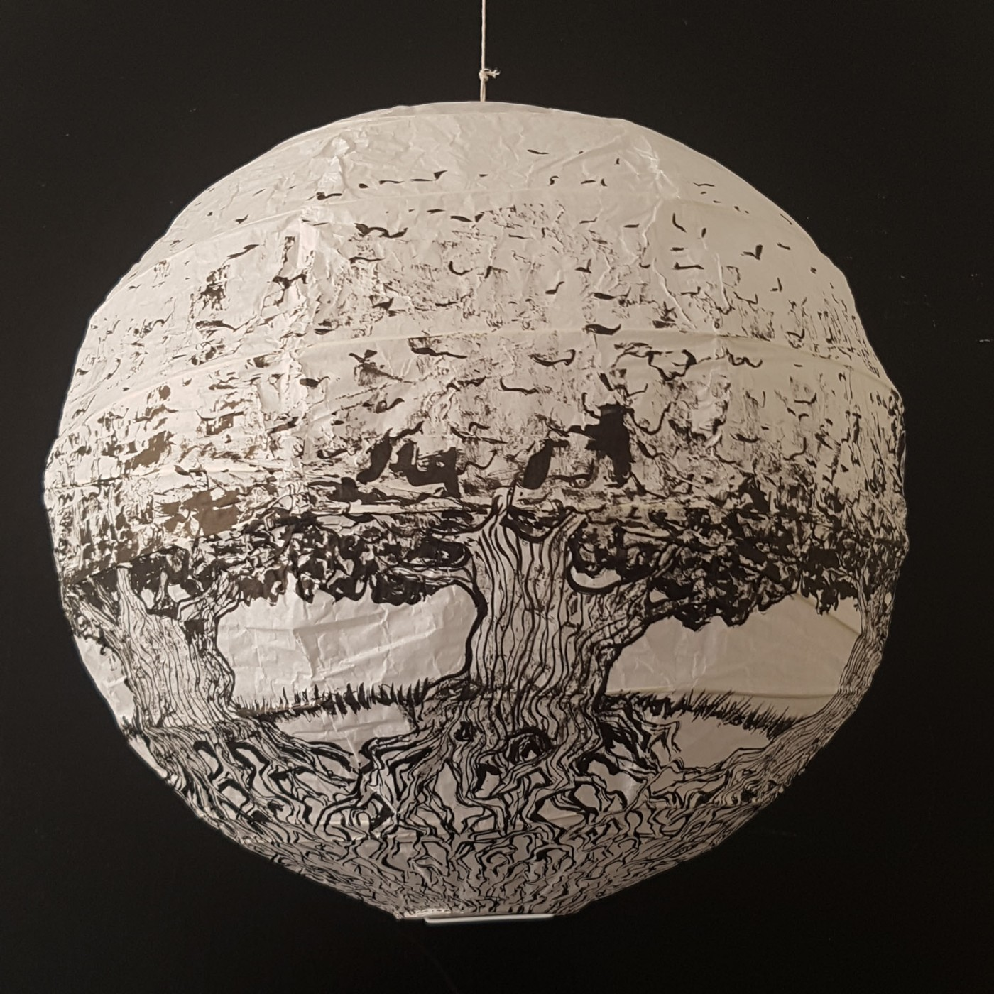 Painting of trees with roots on rice paper lamp. Artwork by Frits Ahlefeldt