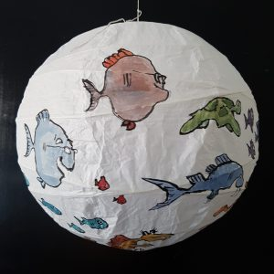 No.007 Color drawing of fish on a rice paper lamp. Artwork by Frits Ahlefeldt