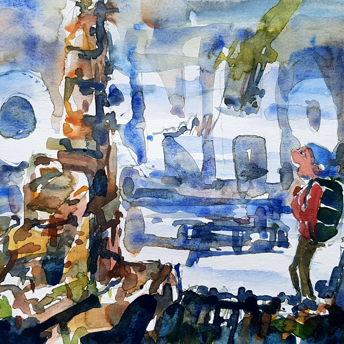 Watercolor of North Bornholm with the text Bornholm in the background. painting by Frits Ahlefeldt