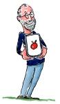 Apple co founder Steve Jobs with an Ipad, showning an Apple
