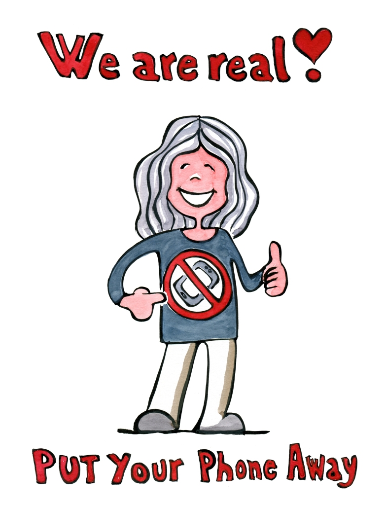 We are real - no phone t shirt woman drawing by Frits ahlefeldt