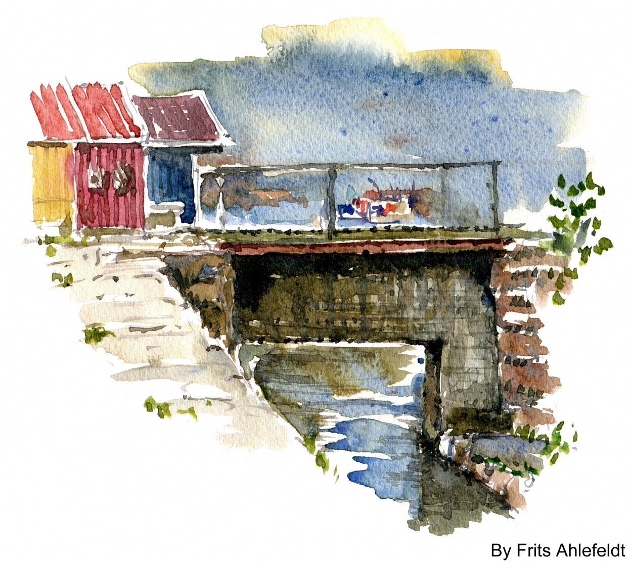 Small stream and houses Watercolor Bornholm