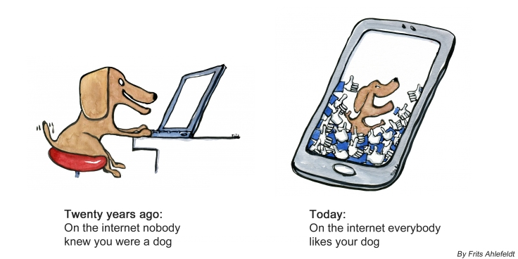 Drawing of a dog in front of a computer and another dog on a smartphone
