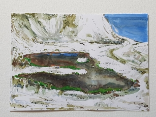 Chalk mine Denmark, Holtug kridtbrud watercolor