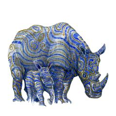 Rhino With offspring, watercolor by Frits Ahlefeldt