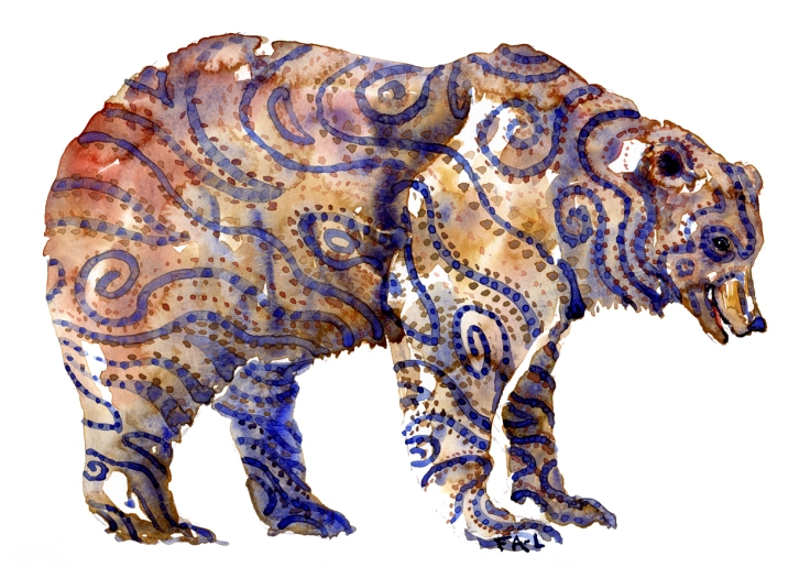 Bear watercolor with Tattoo like markings
