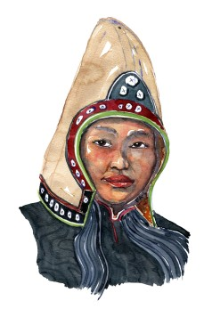 Woman with hat Asian traditional clothing Watercolor people portrait by Frits Ahlefeldt