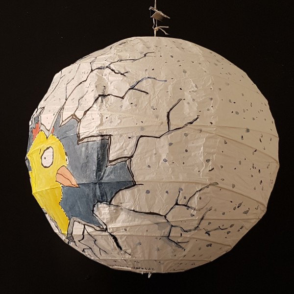 Drawing of a chicken inside an egg, painted by Frits Ahlefeldt on Rice Paper Lamp