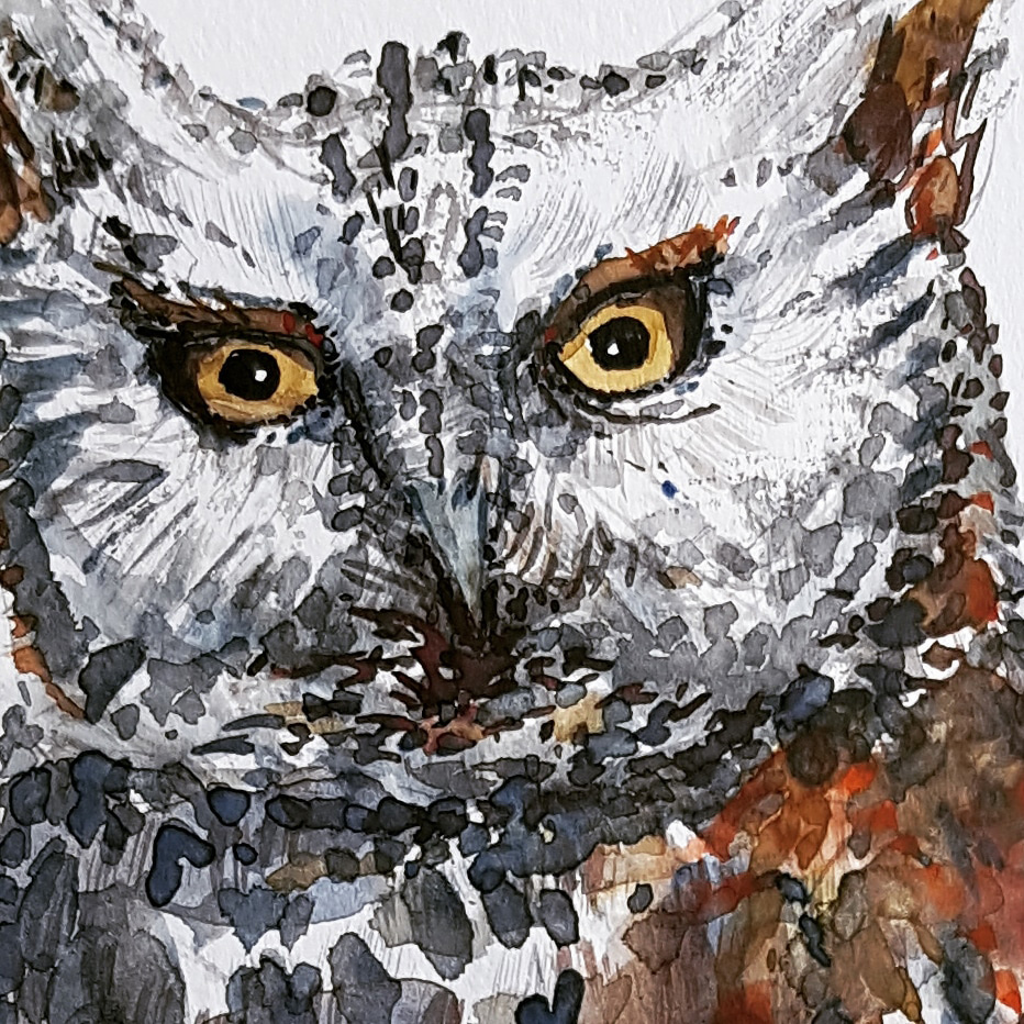 Owl watercolor painting by Frits Ahlefeldt
