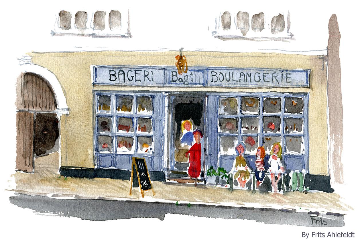 Watercolor of a danish bakery