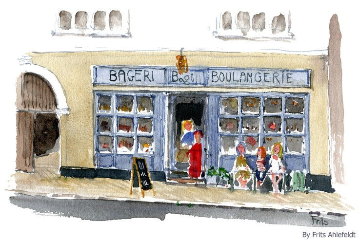 Watercolor of a danish bakery