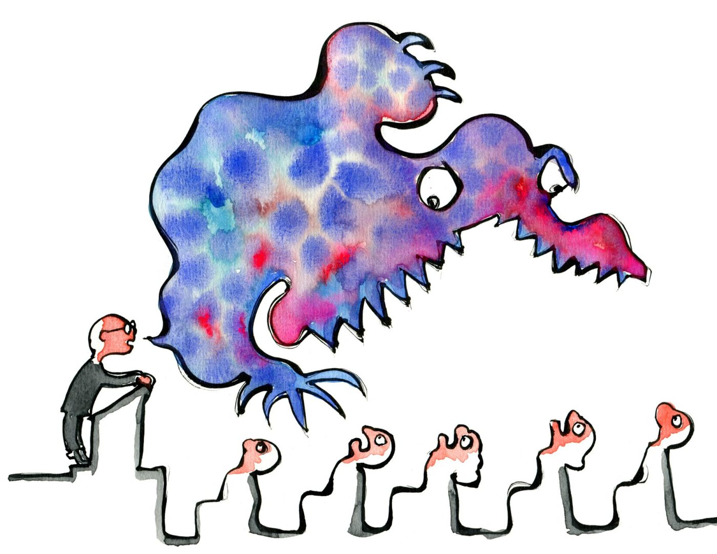 illustration of a speaker trying to monster scare people