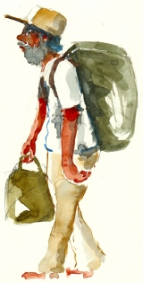 Homeless guy with backpack and bag, watercolor