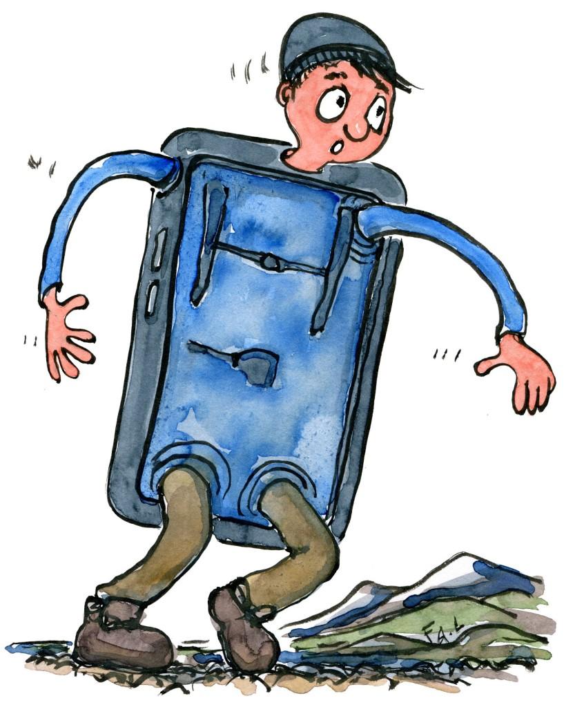 man half hiker half phone. illustration by Frits Ahlefeldt