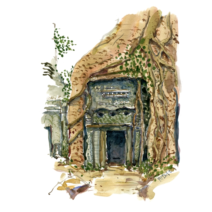 tree covered entrance watercolor