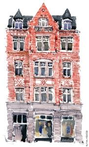 watercolor of building from Copenhagen