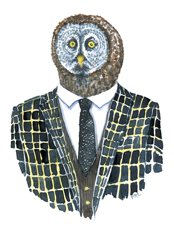 Owl dressed in a suit. Fashion watercolor painting of animal in suit by Frits Ahlefeldt