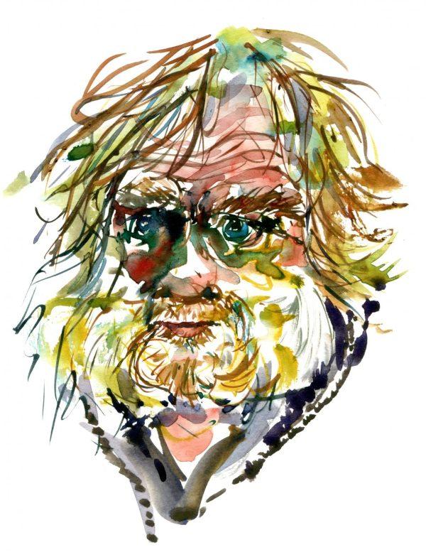 Watercolor portrait of man, yellow hair, beard