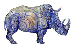Rhino watercolour by Frits Ahlefeldt