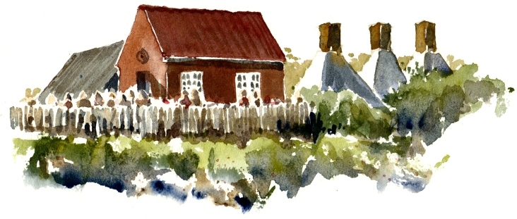 Snogebaek fishing village, Bornholm. Watercolor