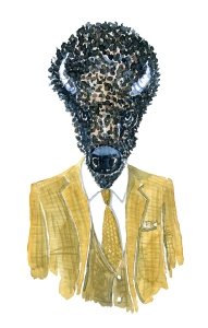 Watercolor of a bison Buffalo Fashion watercolor painting of animal in suit by Frits Ahlefeldt