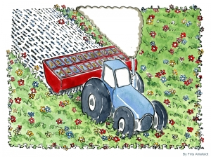 Drawing of a tractor planting words in a meadow