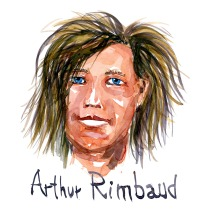 Arthur Rimbaud Watercolor people portrait by Frits Ahlefeldt