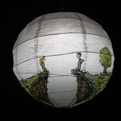 Painting on sphere a gap, with a man and woman on each side, and a tent on the other side. Storytelling art by Frits Ahlefeldt