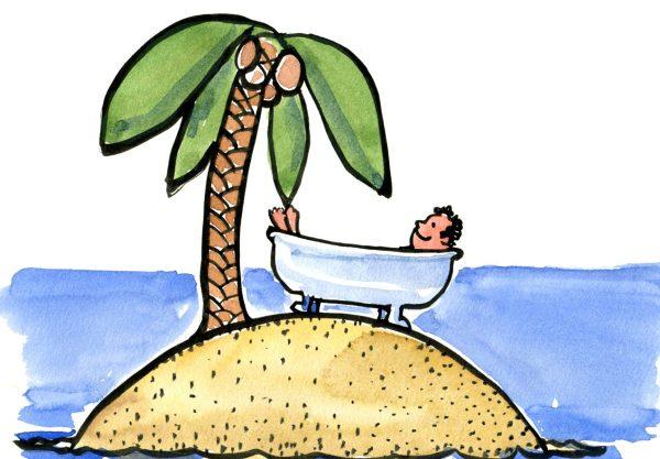 guy in a bathtub on an island