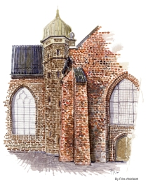 Church detail. Copenhagen Watercolor painting by Frits Ahlefeldt