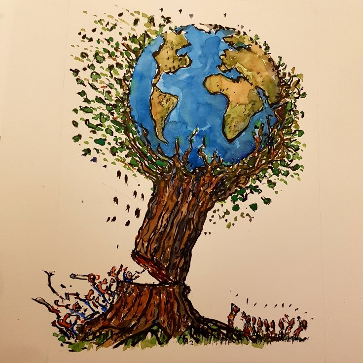 Drawing of a tree with planet Earth cut down by greedy humans, while others watch in disbelieve