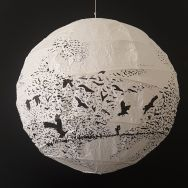 Artwork drawing of birds flying around ricepaperlamp - art by Frits Ahlefeldt