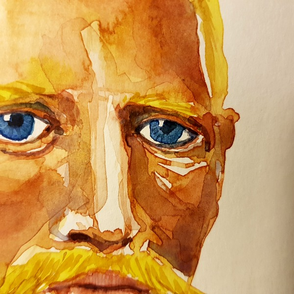 Portrait watercolor by Frits Ahlefeldt