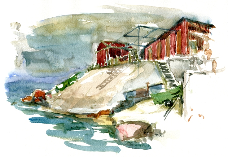 Watercolor from Bornholm Shacks