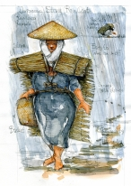 Asian rain cover Research sketch by Frits Ahlefeldt