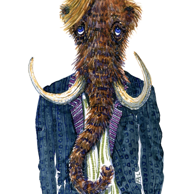 watercolor of a mammoth in clothing, art by Frits Ahlefeldt