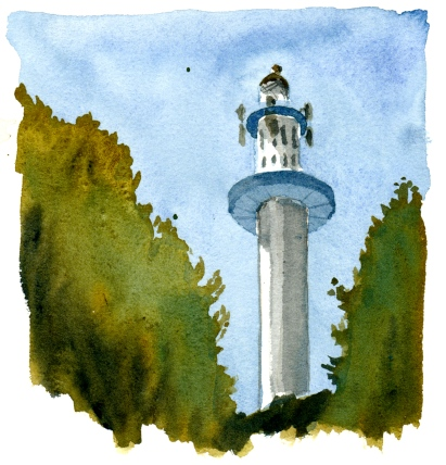 Dueodde lighthouse, Bornholm, Denmark. Watercolor