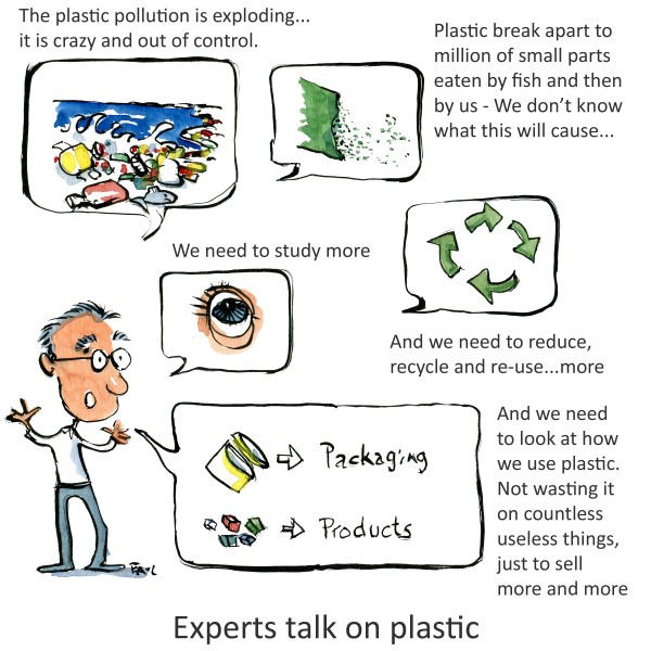Scientist explaining plastic waste in oceans. Drawing by Frits Ahlefeldt