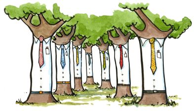 Drawing of trees with ties