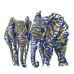 Two elephants watercolor