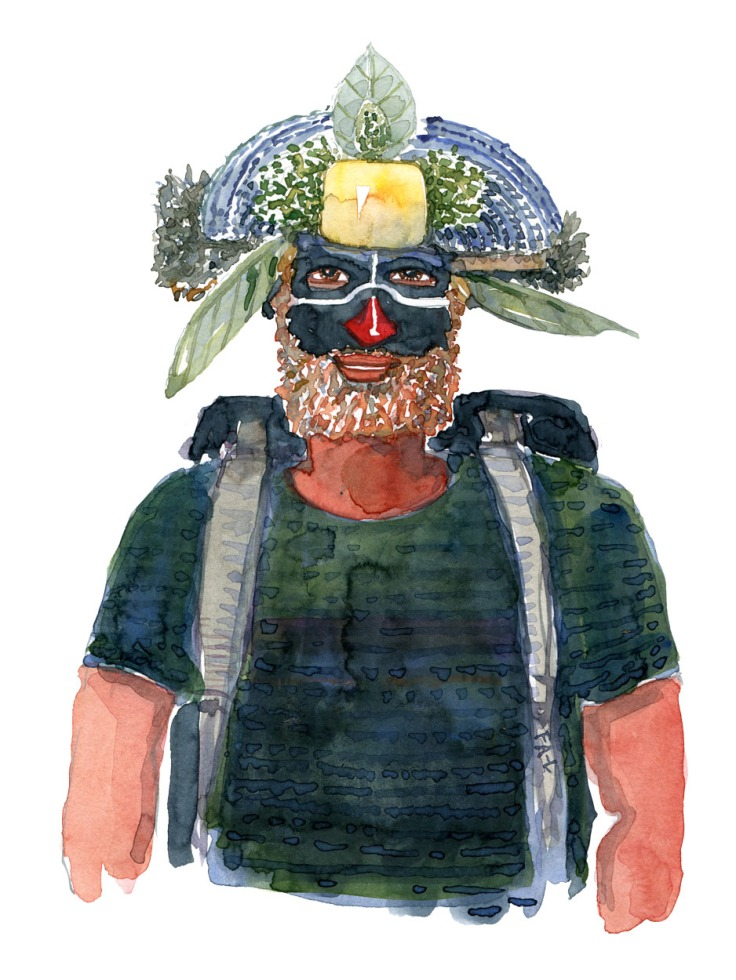 illusration of a hiker with a original nature people head wear