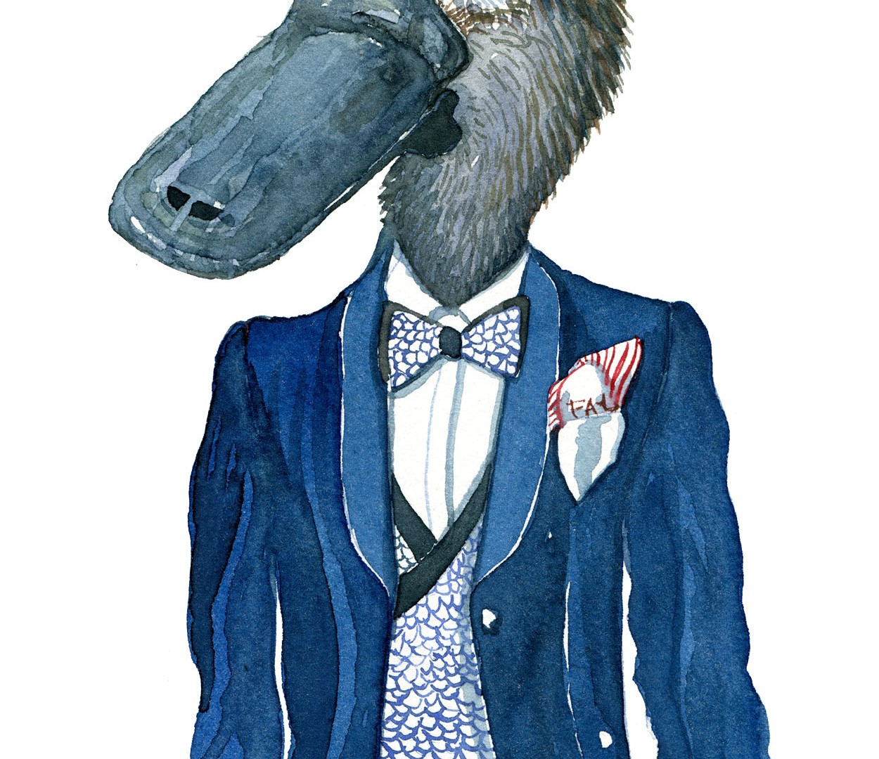 Platypus man watercolor of a platypus in fine suit. art by Frits Ahlefeldt