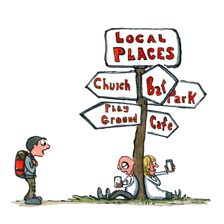 Drawing of a local place sign with church, bar, park cafe etc. and two people sitting under it with smartphones and a hiker watching. Illustration by Frits Ahlefeldt