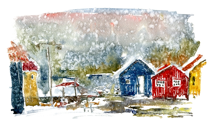 Small houses Watercolor by Frits Ahlefeldt