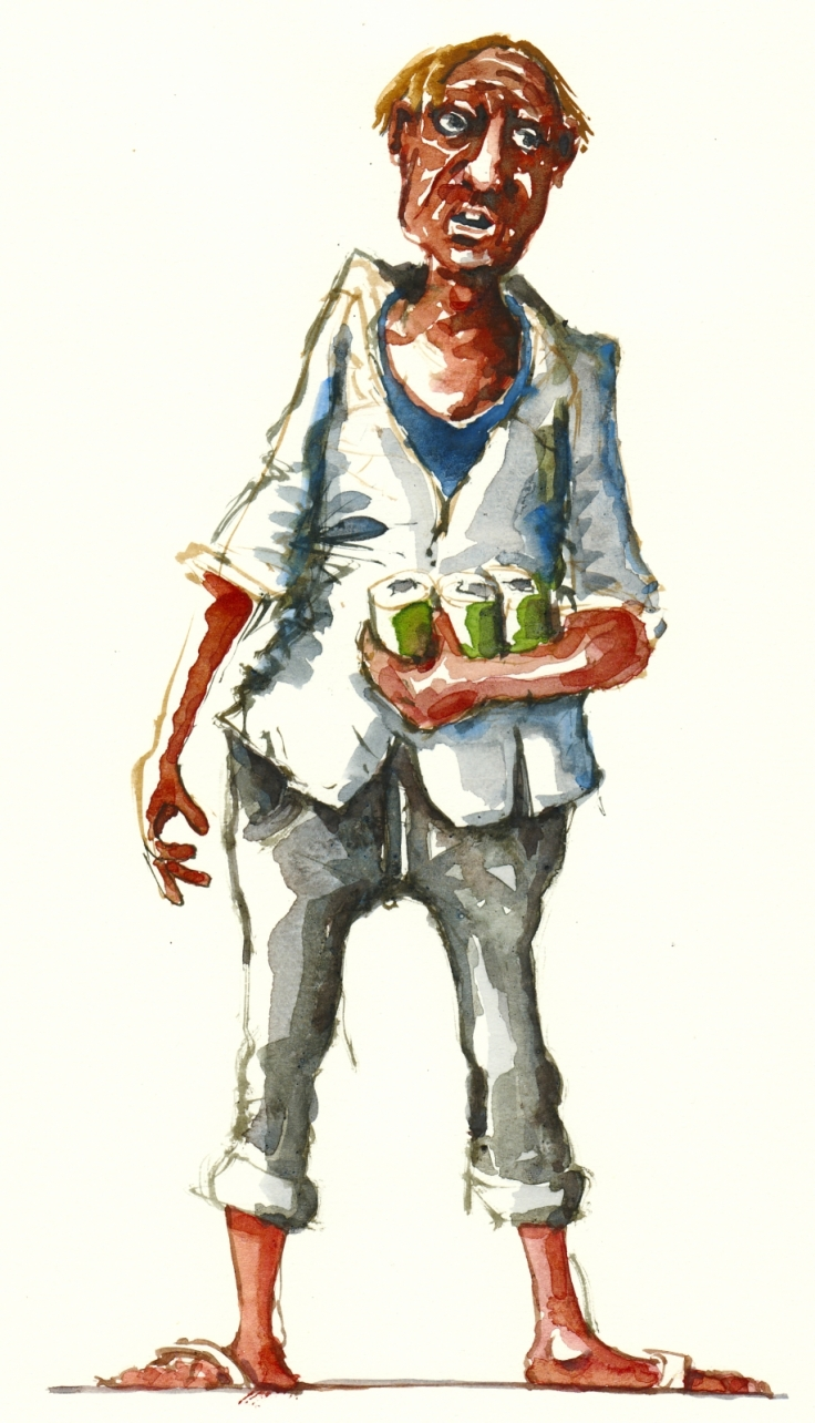 Watercolor of a man in bare feet holding three beers