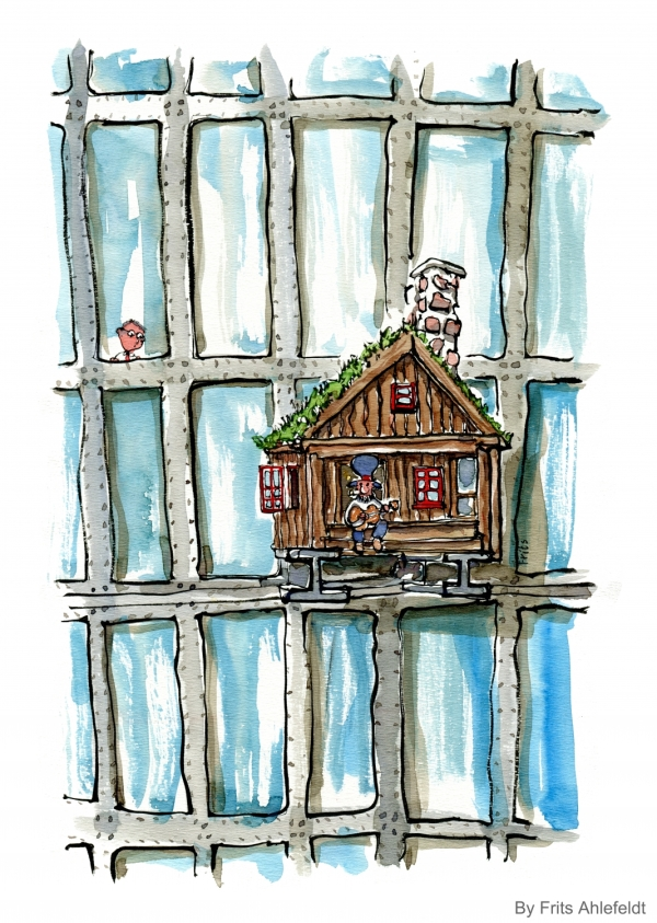 Drawing of a banjo player in a little cabin on the facade of a high rise officebuilding