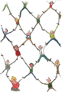 people in linked network making relations