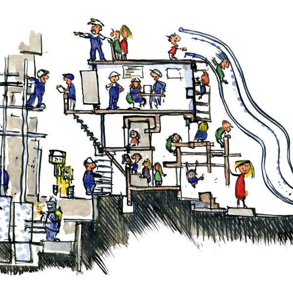 Drawing of a school construction site, with kids playing on the parkour like interactive wall and workers explaining the progress to them